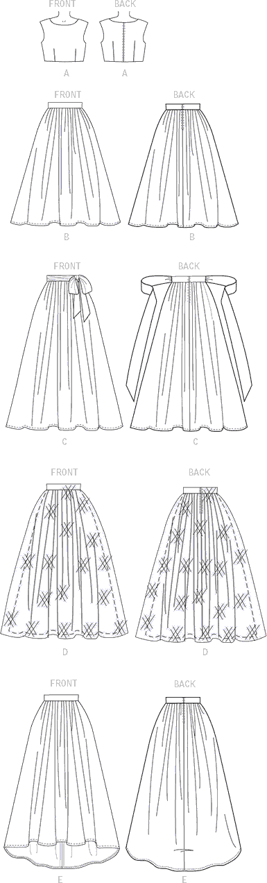 McCall's Pattern M7355 Misses Crop Top and Gathered Skirts 7355 Line Art From Patternsandplains.com