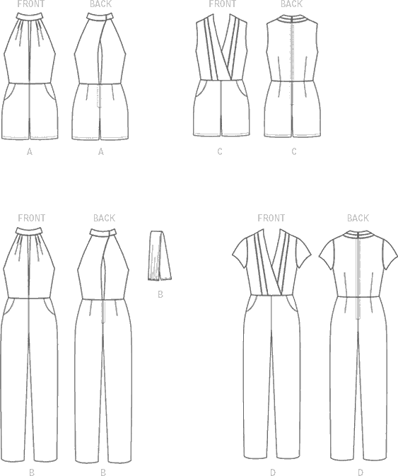 McCall's Pattern M7366 Misses Pleated Surplice or Plunging Neckline Rompers Jumpsuits and Belt 7366 Line Art From Patternsandplains.com