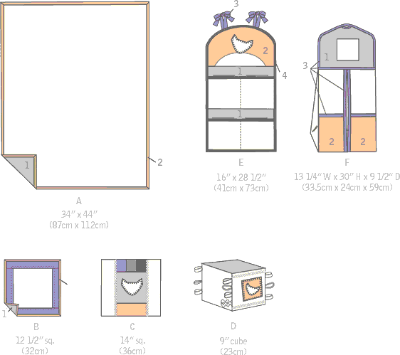 McCall's Pattern M7372 Nursery Blanket Pillow and Organization Accessories 7372 Line Art From Patternsandplains.com