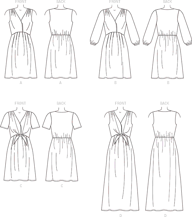 McCall's Pattern M7381 Misses Pleated Dresses with Optional Front Tie 7381 Line Art From Patternsandplains.com