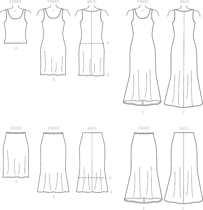McCall's Pattern M7386 Misses Knit Tank Top Dresses and Skirts 7386 Line Art From Patternsandplains.com