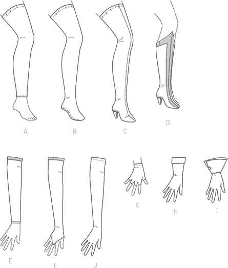 McCall's Pattern M7397 Misses Gloves Arm Warmers Leg Warmers Stockings and Boot Covers 7397 Line Art From Patternsandplains.com