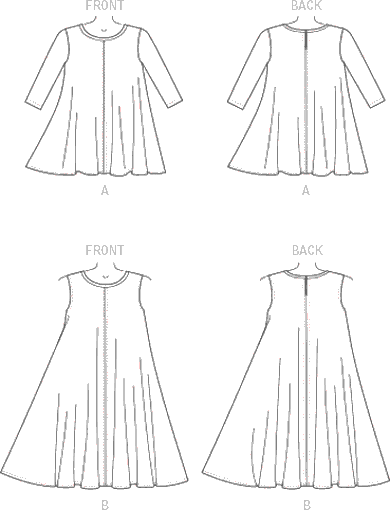 McCall's Pattern M7407 Misses Top and Dress 7407 Line Art From Patternsandplains.com