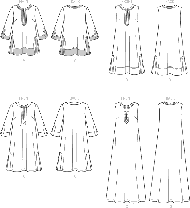 McCall's Pattern M7408 Misses Tunic and Dresses 7408 Line Art From Patternsandplains.com