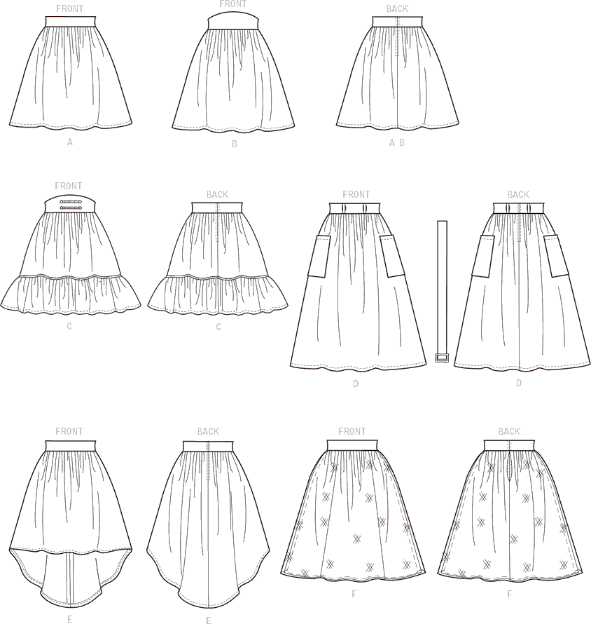 McCall's Pattern M7439 Misses Gathered and Flared Skirts with Belt 7439 Line Art From Patternsandplains.com