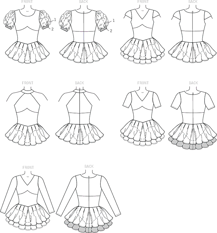 McCall's Pattern M7455 Misses Skirted Leotards with Mix and Match Design Variations 7455 Line Art From Patternsandplains.com