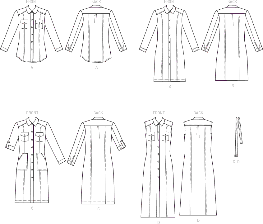 McCall's Pattern M7470 Misses Button Down Shirt and Shirtdresses with Belt 7470 Line Art From Patternsandplains.com