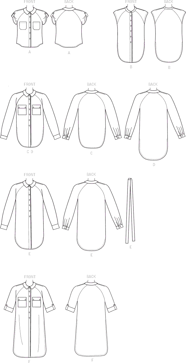 McCall's Pattern M7472 Misses Raglan Sleeve Button Down Shirts and Tunics 7472 Line Art From Patternsandplains.com