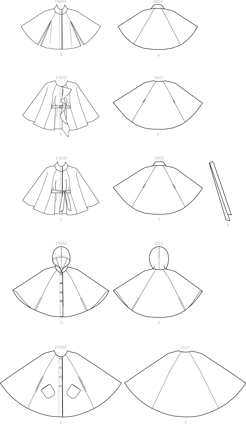 McCall's Pattern M7477 Misses Hooded Collared or Collarless Capes 7477 Line Art From Patternsandplains.com
