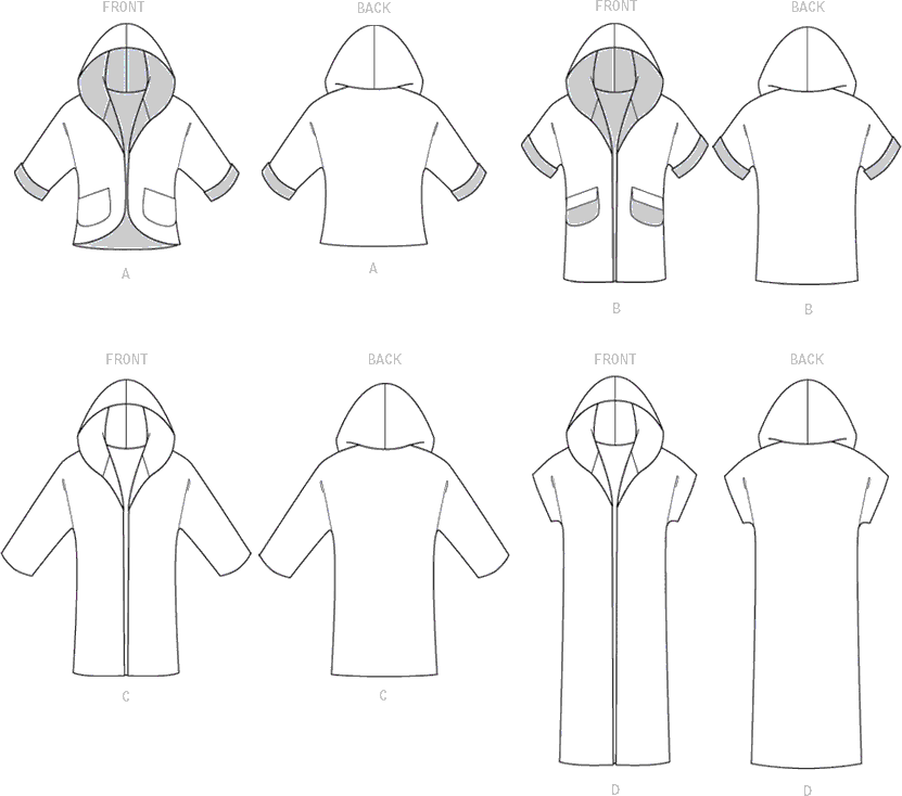 McCall's Pattern M7511 Misses Open Front Jackets with Shawl Collar and Hood 7511 Line Art From Patternsandplains.com