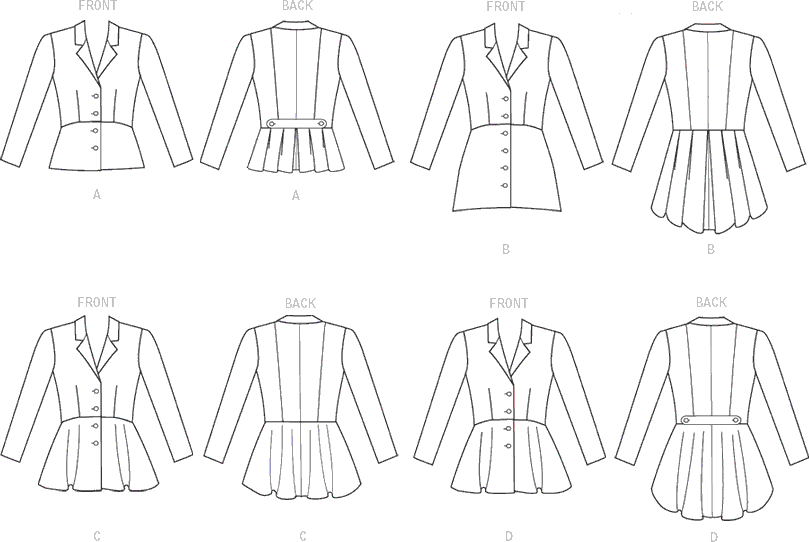McCall's Pattern M7513 Misses Notch Collar Peplum Jackets 7513 Line Art From Patternsandplains.com
