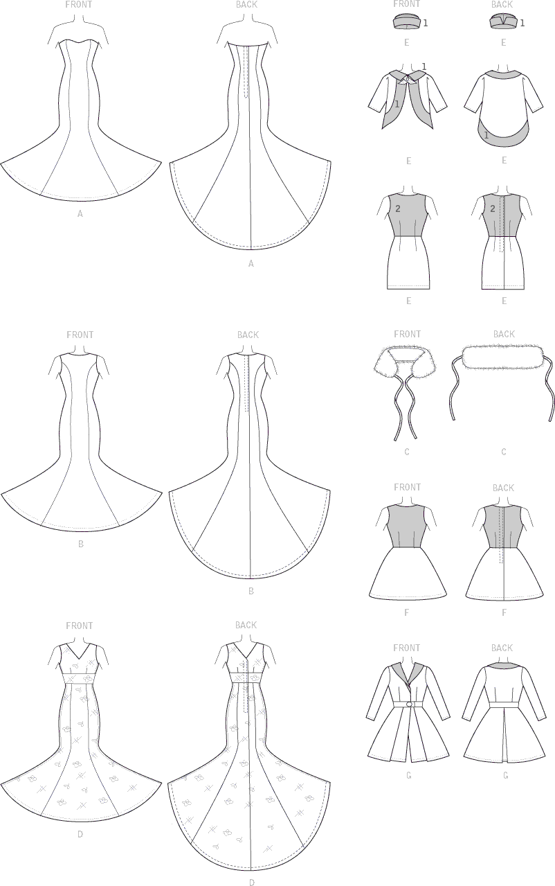 McCall's Pattern M7520 Gowns Stole Dresses Coats and Hat for 11and a half Doll 7520 Line Art From Patternsandplains.com