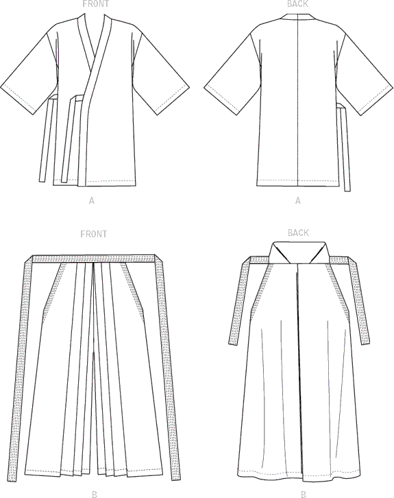 McCall's Pattern M7525 Kimono and Pleated Pants 7525 Line Art From Patternsandplains.com
