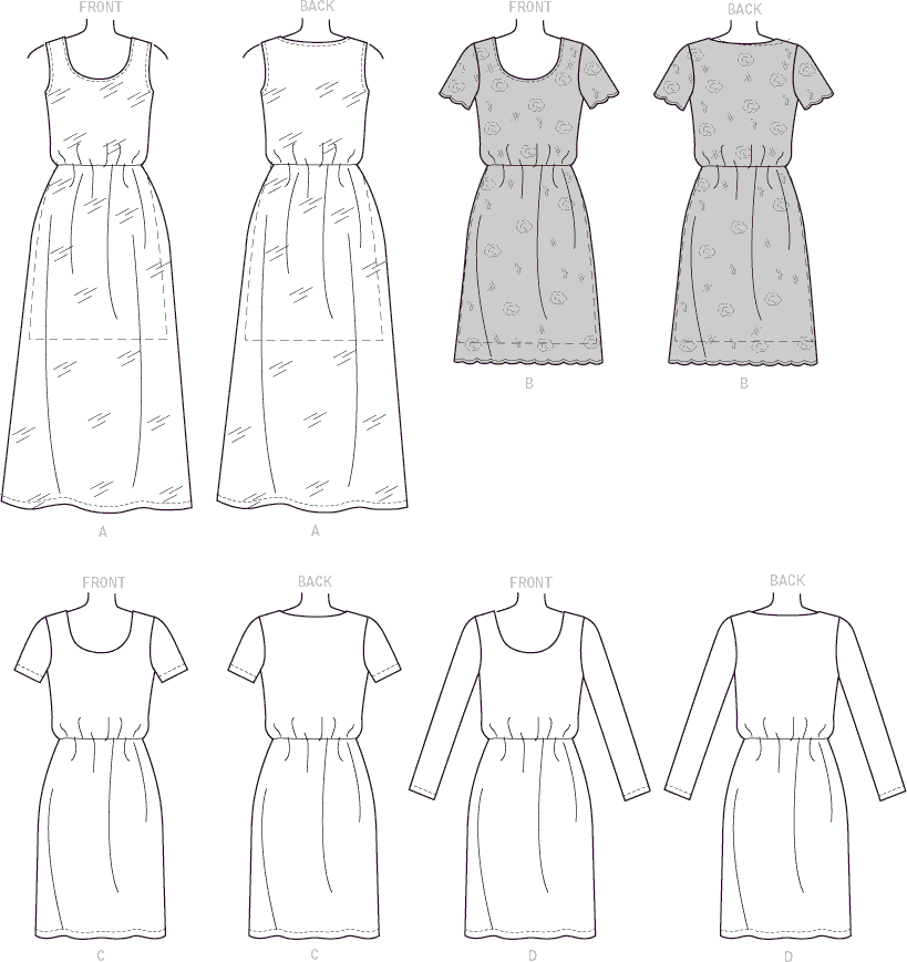 McCall's Pattern M7530 Misses Gathered Waist Scoopneck Dresses 7530 Line Art From Patternsandplains.com