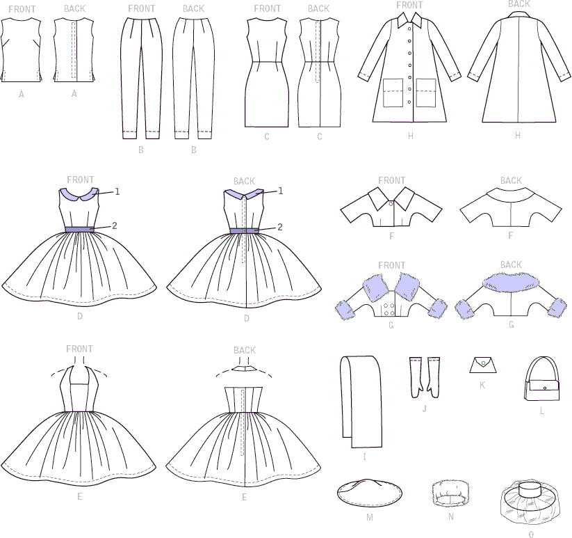 McCall's Pattern M7550 Retro Style Clothes and Accessories for 11and a half Doll 7550 Line Art From Patternsandplains.com