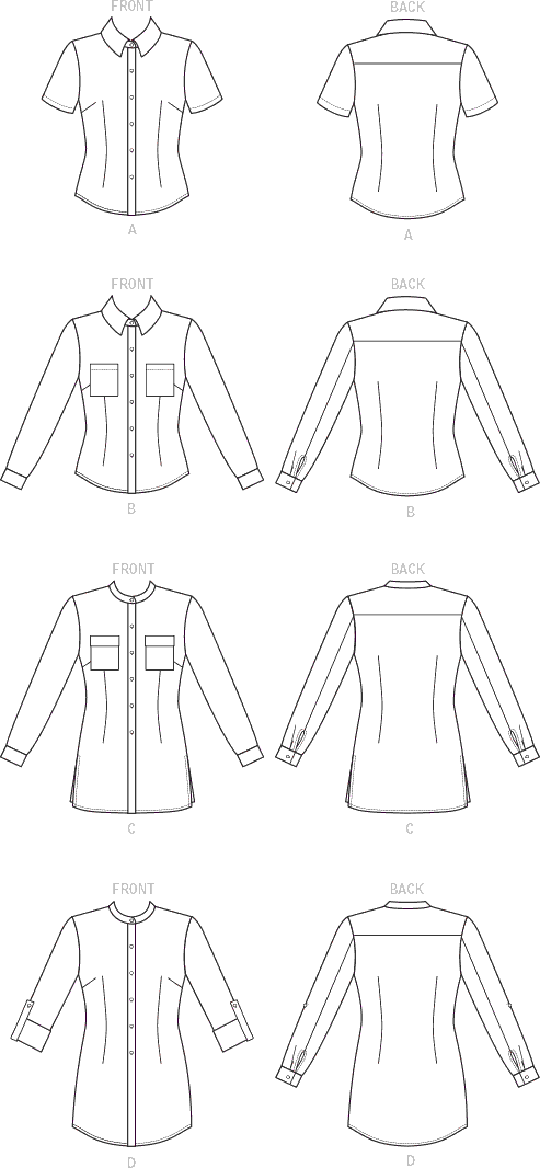 McCall's Pattern M7575 Misses Button Down Shirts with Collar Sleeve and Pocket Variations 7575 Line Art From Patternsandplains.com