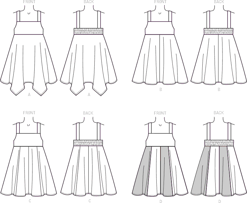 McCall's Pattern M7587 Childrens Girls Dresses with Square Neck and Circular Skirt Variations 7587 Line Art From Patternsandplains.com