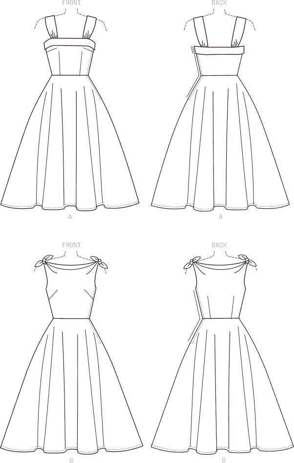 McCall's Pattern M7599 Misses Lined Flared Dresses with Petticoat 7599 Line Art From Patternsandplains.com