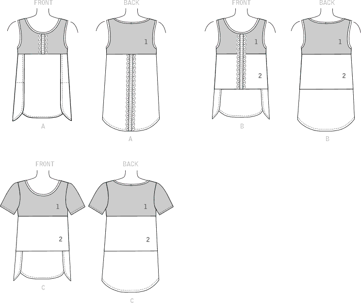 McCall's Pattern M7600 Misses Womens Pullover Tops with Contrast and Sleeve Variations 7600 Line Art From Patternsandplains.com