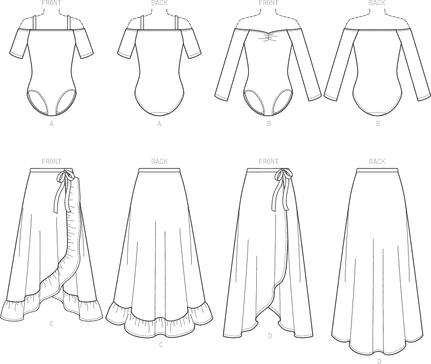 McCall's Pattern M7606 Misses Off the Shoulder Bodysuits and Wrap Skirts with Side Tie 7606 Line Art From Patternsandplains.com