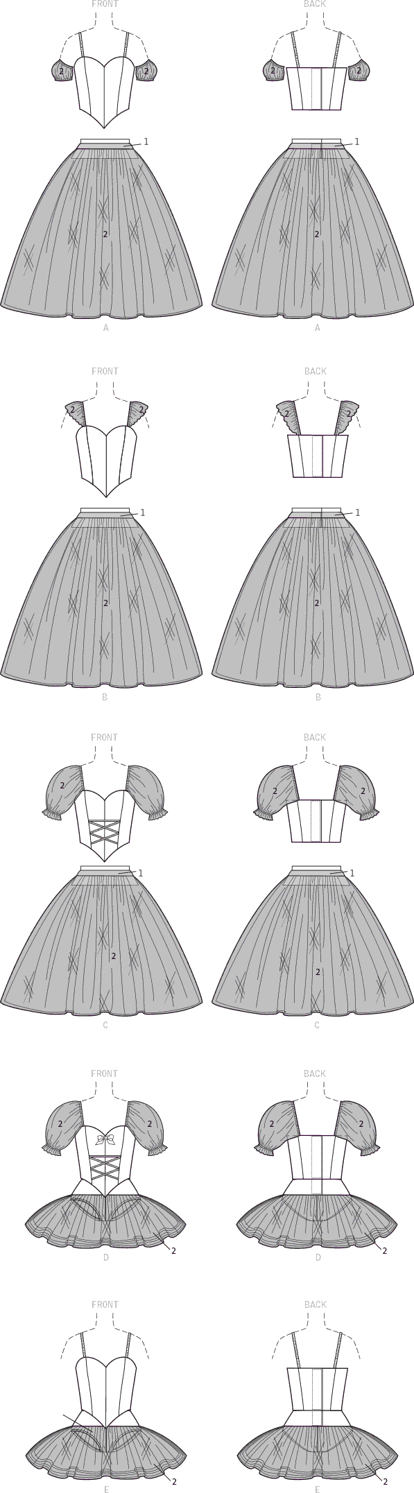 McCall's Pattern M7615 Misses Ballet Costumes with Fitted Boned Bodice and Skirt and Sleeve Variations 7615 Line Art From Patternsandplains.com