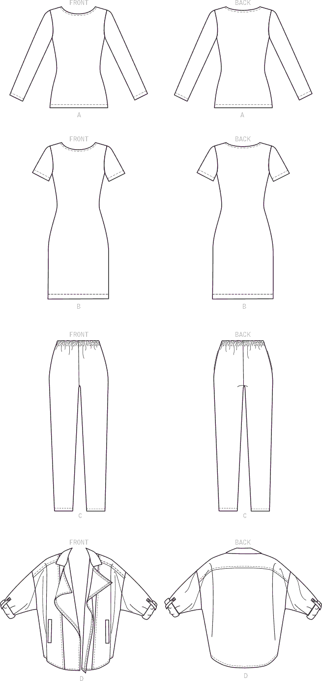 McCall's Pattern M7635 Misses Womens Top Dress Pants and Jacket 7635 Line Art From Patternsandplains.com