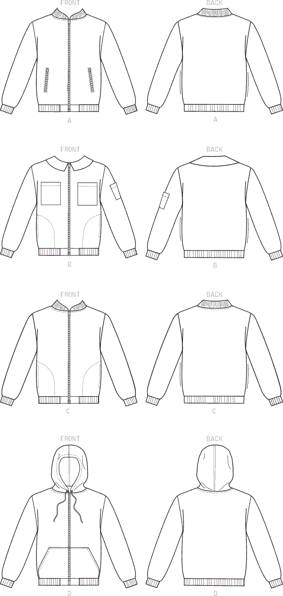 McCall's Pattern M7637 Misses and Mens Bomber Jackets 7637 Line Art From Patternsandplains.com