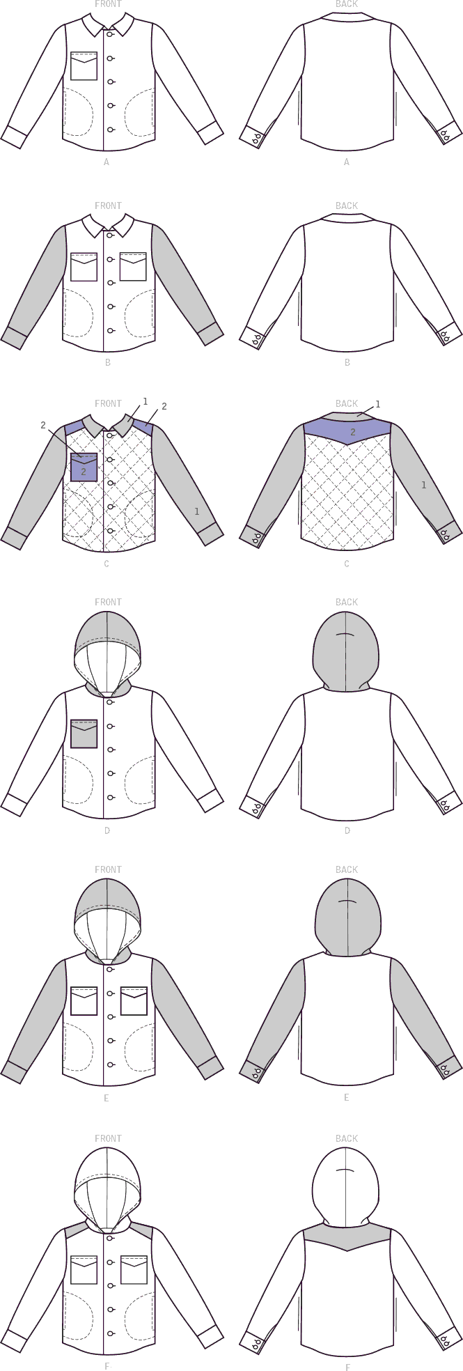 McCall's Pattern M7638 Mens and Boys Lined Button Front Jackets with Hood Options 7638 Line Art From Patternsandplains.com