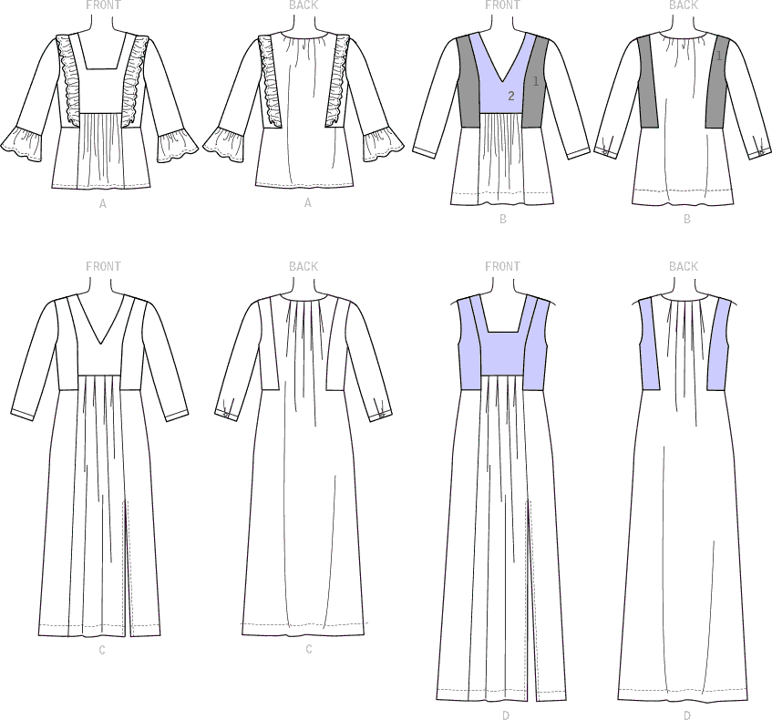 McCall's Pattern M7650 Misses V Neck or Square Neck Top Tunic and Dresses 7650 Line Art From Patternsandplains.com