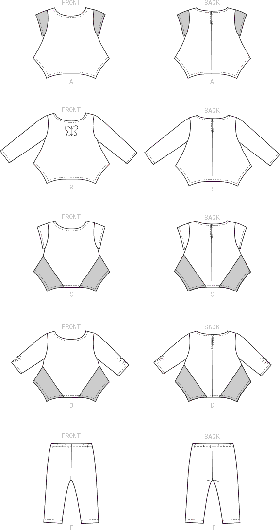 McCall's Pattern M7677 Infants Contrast Tops and Leggings 7677 Line Art From Patternsandplains.com