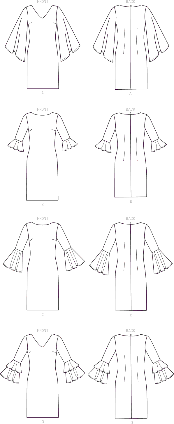 McCall's Pattern M7681 Misses Dresses with Flounce Sleeve Variations 7681 Line Art From Patternsandplains.com