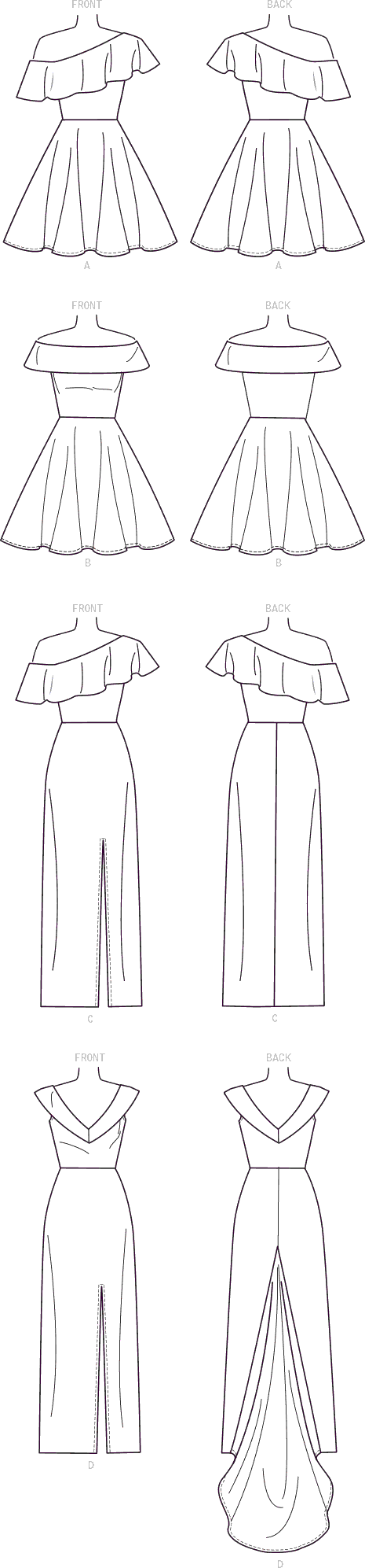 McCall's Pattern M7683 Misses Miss Petite Dresses with Shoulder and Skirt Variations 7683 Line Art From Patternsandplains.com