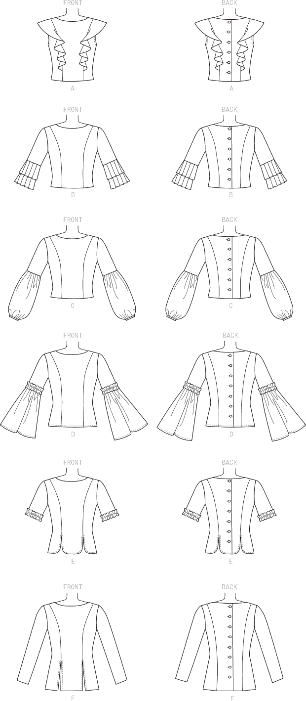 McCall's Pattern M7687 Misses Back Button Tops with Sleeve Options 7687 Line Art From Patternsandplains.com