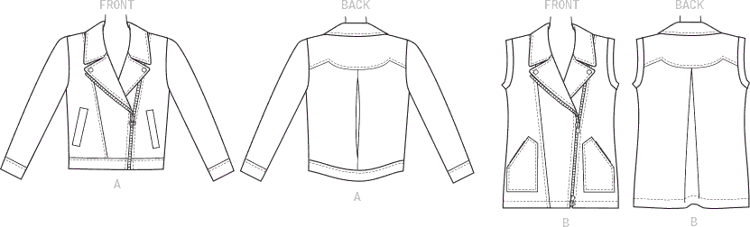 McCall's Pattern M7694 Misses Moto Style Jacket and Vest 7694 Line Art From Patternsandplains.com