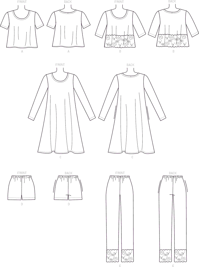 McCall's Pattern M7697 Misses Womens Lounge Tops Dress Shorts and Pants 7697 Line Art From Patternsandplains.com
