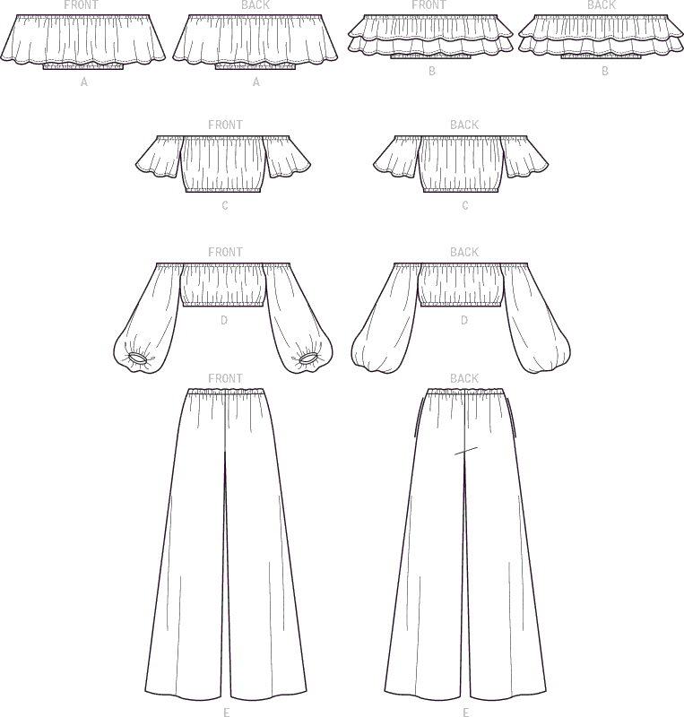 McCall's Pattern M7757 Misses Tops and Pants 7757 Line Art From Patternsandplains.com