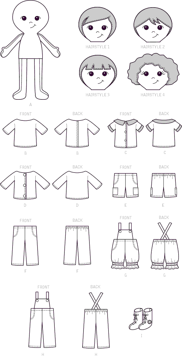 McCall's Pattern M7795 Doll Clothes and Shoes 7795 Line Art From Patternsandplains.com