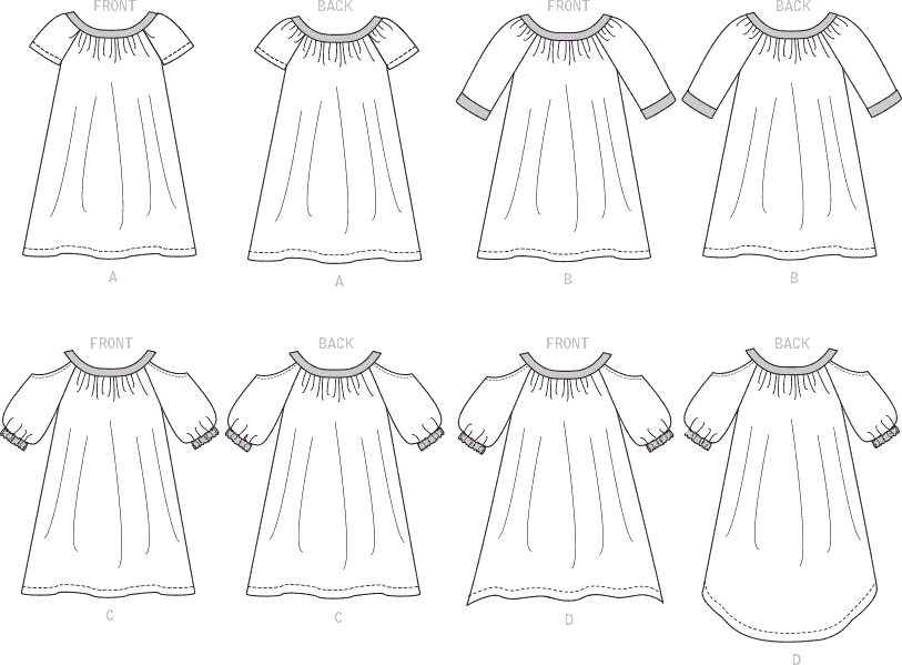 McCall's Pattern M7798 Childrens Girls Dresses 7798 Line Art From Patternsandplains.com