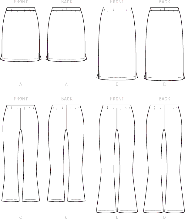 McCall's Pattern M7843 Misses Womens Skirts and Pants 7843 Line Art From Patternsandplains.com