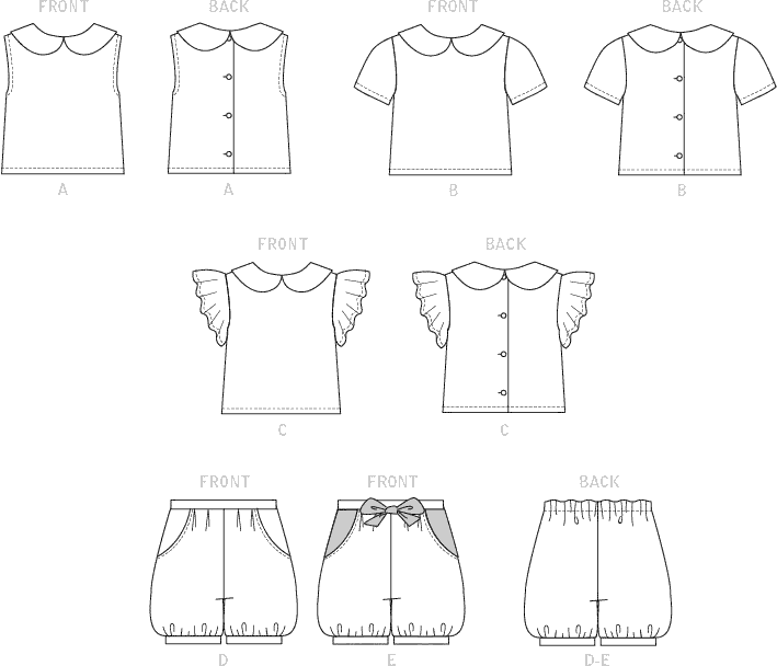 McCall's Pattern M7887 Toddlers Tops and Shorts 7887 Line Art From Patternsandplains.com