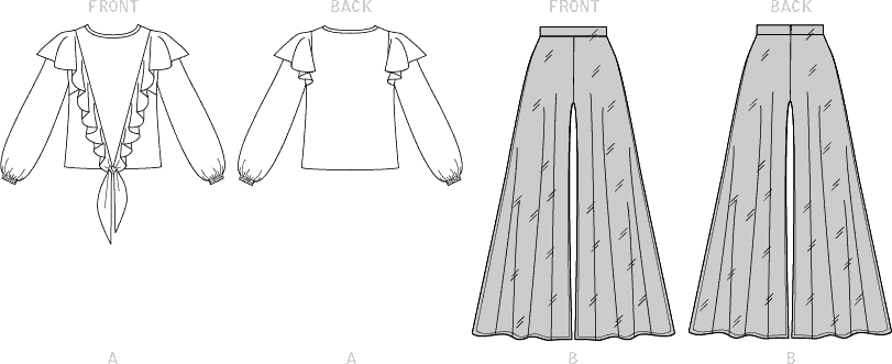 McCall's Pattern M7911 Misses Top and Pants 7911 Line Art From Patternsandplains.com