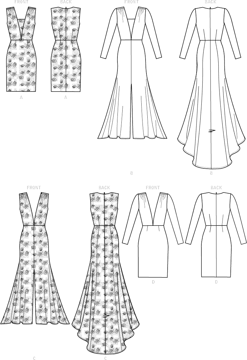 McCall's Pattern M7927 Misses Special Occasion Dresses 7927 Line Art From Patternsandplains.com