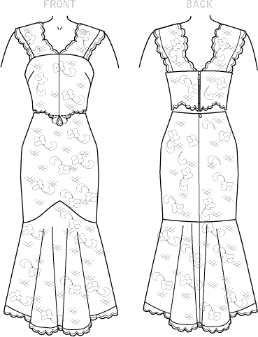 McCall's Pattern M7928 Misses Special Occasion Dress 7928 Line Art From Patternsandplains.com