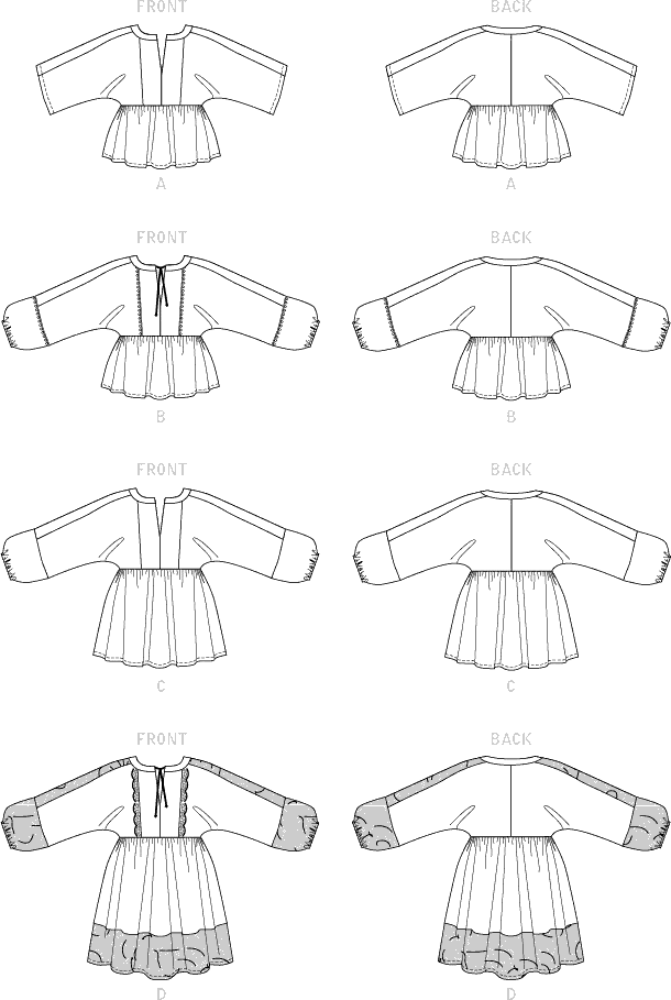McCall's Pattern M7930 Misses Tops and Tunics 7930 Line Art From Patternsandplains.com