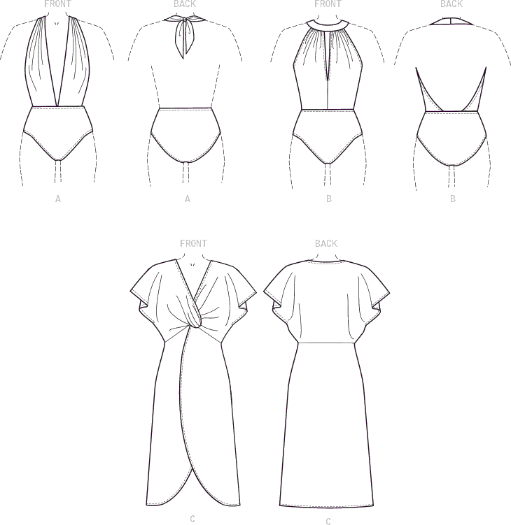 McCall's Pattern M7964 Misses Swimsuit and Cover Up 7964 Line Art From Patternsandplains.com