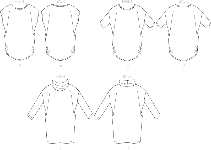 McCall's Pattern M7979 Misses Tops and Tunic 7979 Line Art From Patternsandplains.com