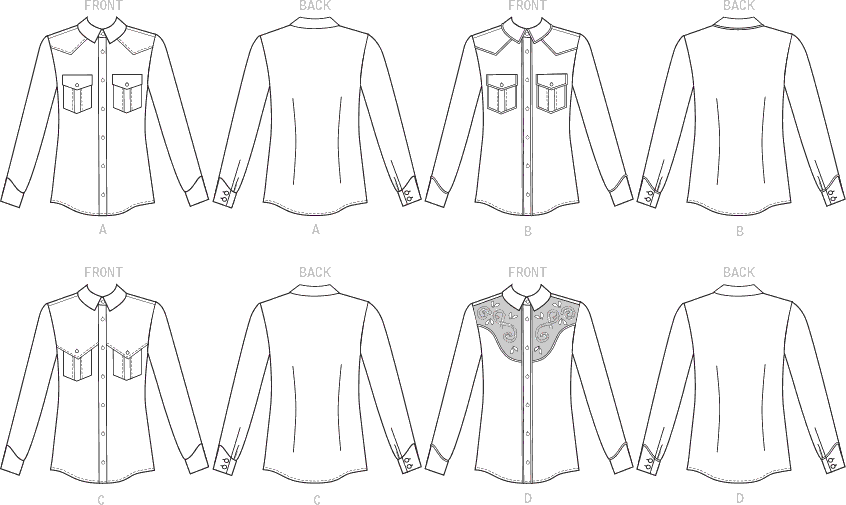 McCall's Pattern M7980 Misses and Mens Shirts 7980 Line Art From Patternsandplains.com