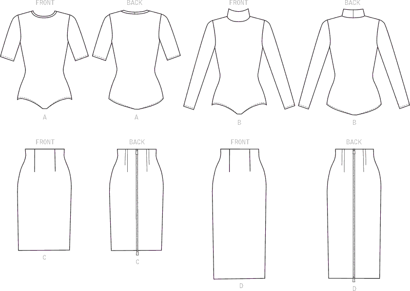 McCall's Pattern M7983 Misses Tops and Skirts 7983 Line Art From Patternsandplains.com