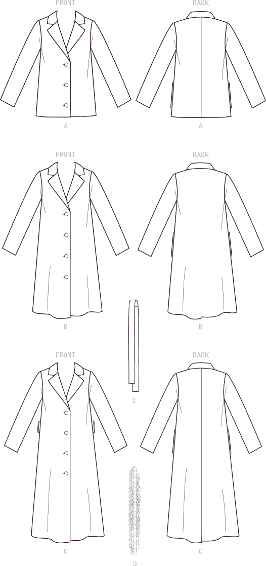 McCall's Pattern M8013 Misses Outerwear Detachable Fur Collar and Belt 8013 Line Art From Patternsandplains.com