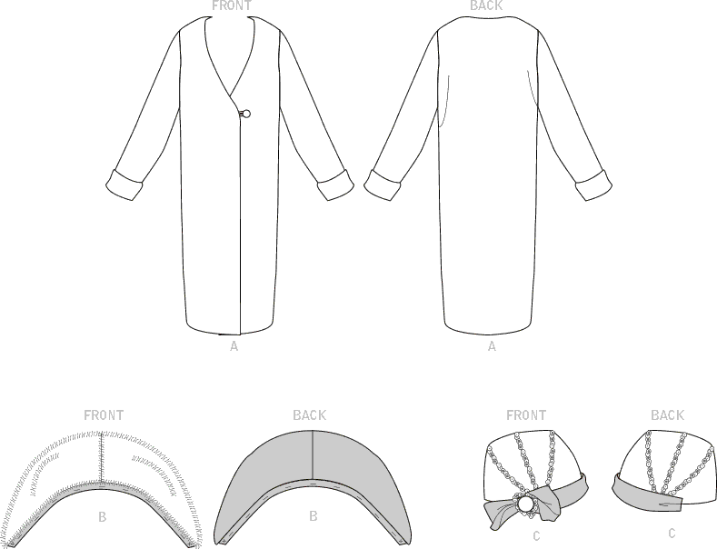 McCall's Pattern M8190 Misses Coat and Hat (Hat In 4 Sizes) 8190 Line Art From Patternsandplains.com